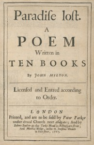 Title page of Paradise Lost, London: 1667, by John Milton (1608-1674)