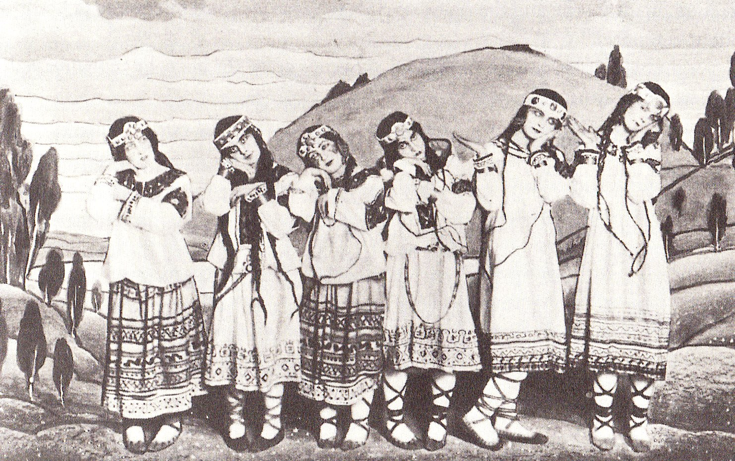 The dancers from the original performance of The Rite of Spring, featuring costumes and backdrop by Nicholas Roerich.