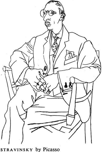 Line-drawing of Igor Stravinsky by Pablo Picasso