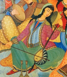 Woman playing the Kamancha, Isfahan, Iran, from 1669