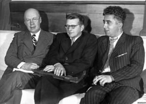 Sergei Prokofiev, Dmitri Shostakovich and Aram Khachaturian. 1940