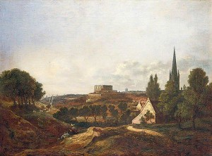 A View of Norwich Castle and Cathedral by Robert Ladbrooke (1768-1842)