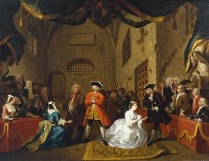 Scene from John Gay's The Beggar's Opera, Act 5. William Hogarth, 1728.